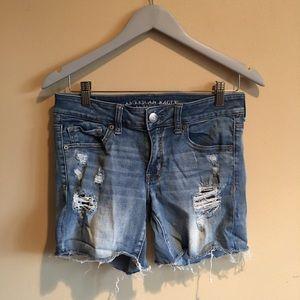American Eagle Distressed Midi Jean Shorts Size 8